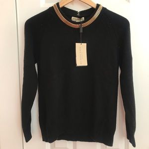 Burberry Black Crewneck Sweater with Chain
